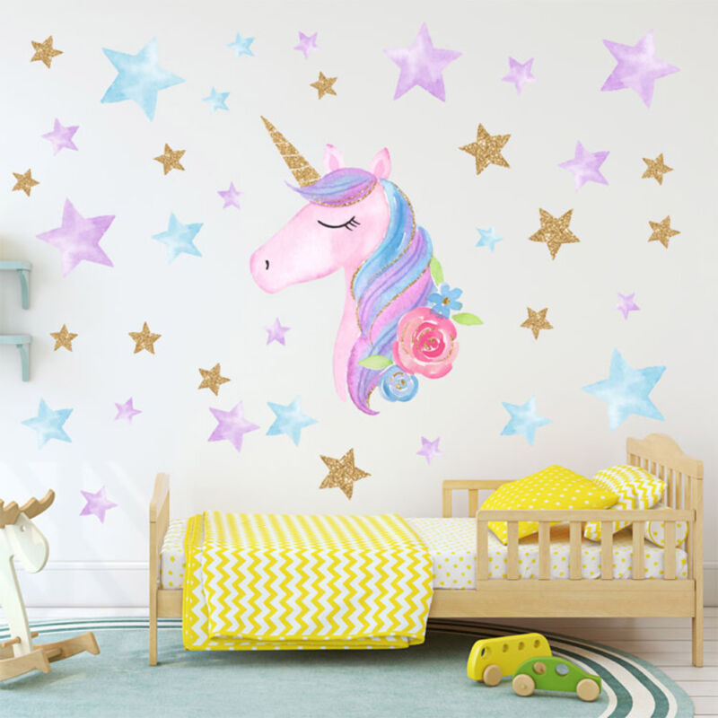 Home Decoration - Unicorn Hearts Stars Wall Art Stickers Girls Bedroom Decals 64 Hearts & Stars