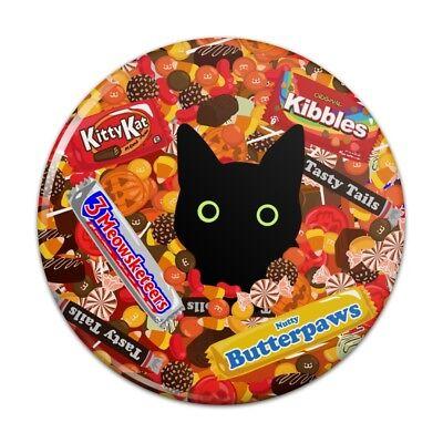Halloween Black Cat Hiding in Candy  Pinback Button Pin Badge - Black Cat Halloween Candy