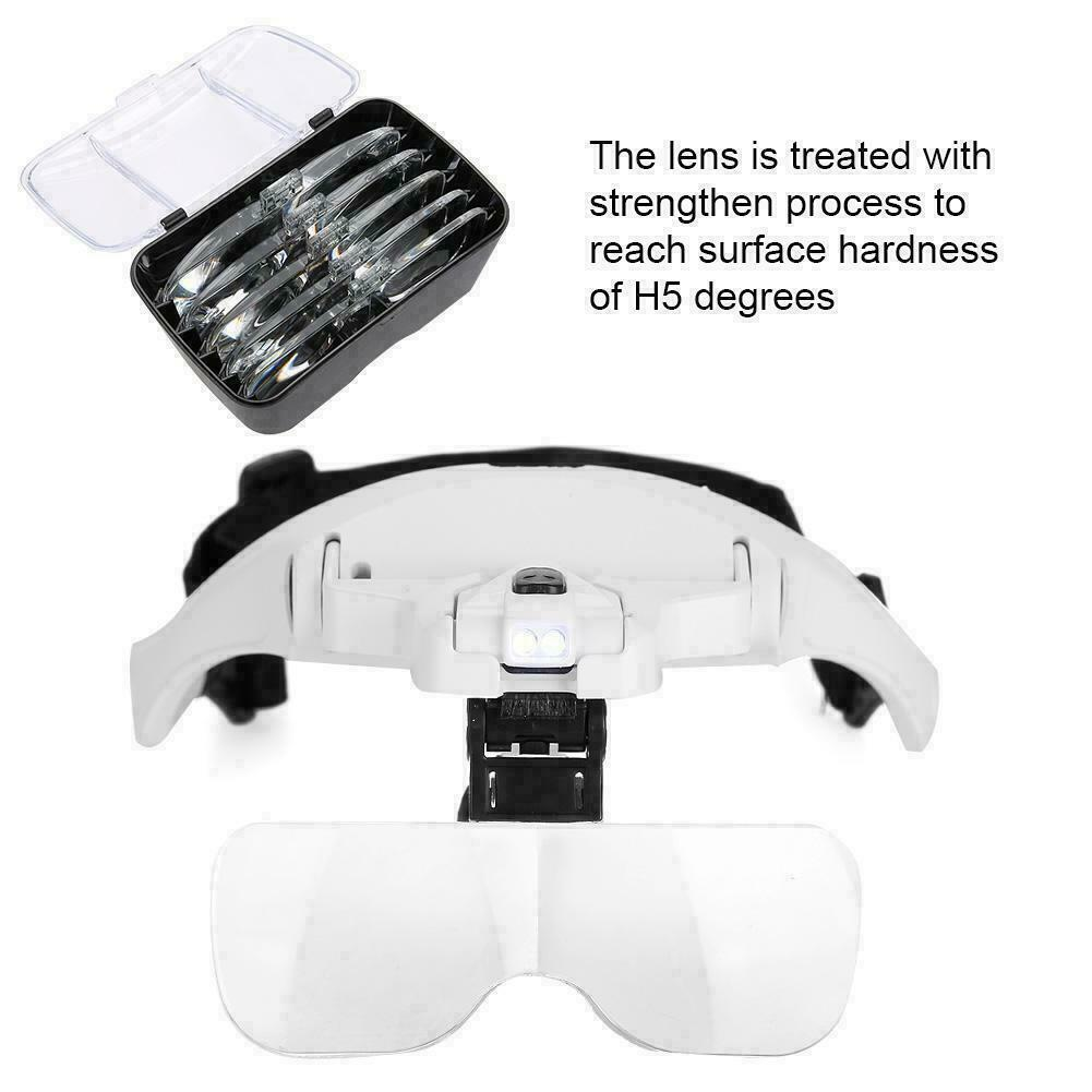 Magnifying Glass Lens LED Light Lamp Visor Head Loupe Jeweler Headband Magnifier 7