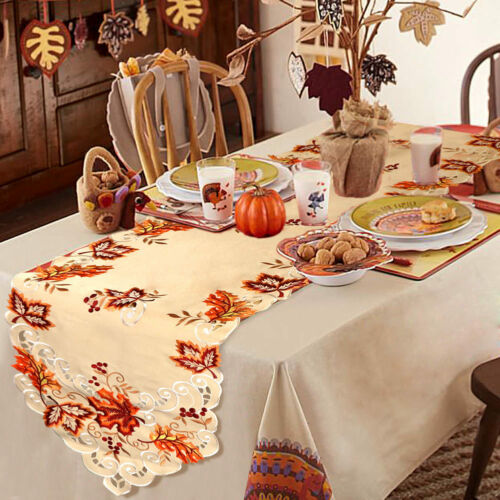 Embroidered Maple Leaves Table Runner Table Cover Thanksgivi