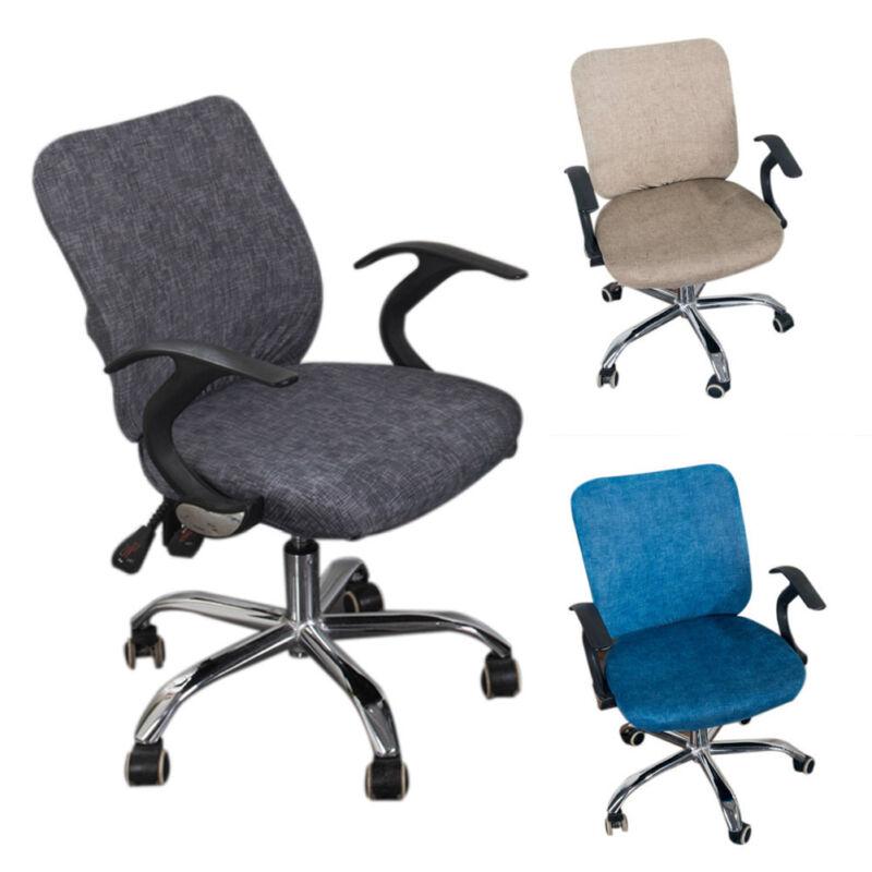 Details about Computer Desk Office Chair Split Seat Stretch Cotton Cover Solid Color Dustproof  sc 1 st  eBay & Computer Desk Office Chair Split Seat Stretch Cotton Cover Solid ...