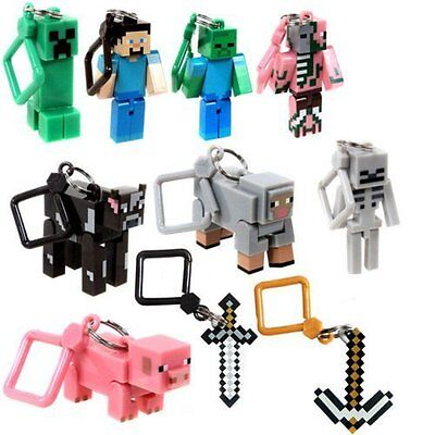 10 Minecraft Action Figures Hangers Keychains Set of 10 (3-Inch 10-Pieces)