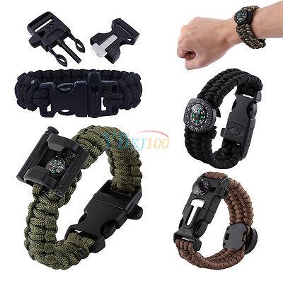 Assorted Paracord Survival Bracelet Compass/Flint/Whistle Gear Kit Accessories