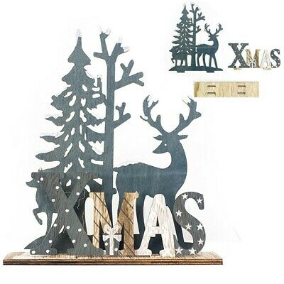 Elk Xmas Tree Wooden Ornaments Christmas Party DIY Crafts Home Garden Decoration ()