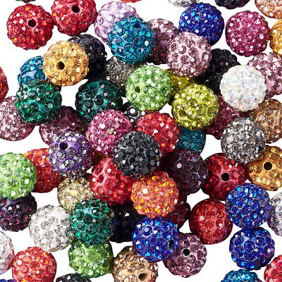 100 pcs 10mm Grade A Polymer Clay Rhinestone Pave Disco Ball Beads Hole 1.8~2mm