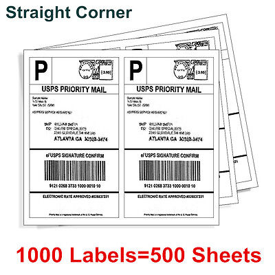 1000 8.5 X 5.5 Shipping Postage Label Half Sheet Self Adhesive - Usps Ups Fedex