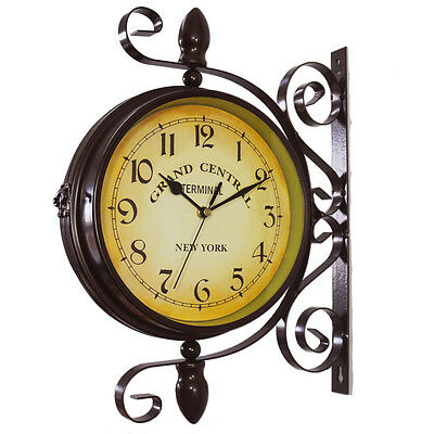 KiaoTime Vintage Double Sided Metal Station Wall Clock w 360 Degree Rotate BROWN