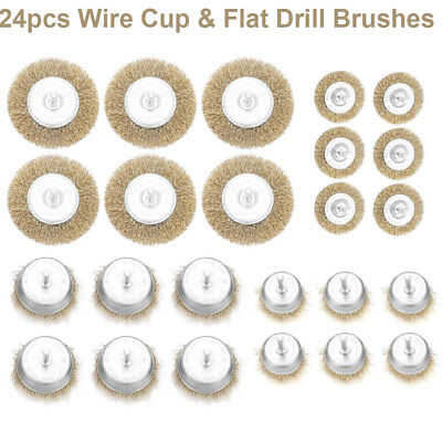 24pcs Metal Wire Wheel Cup Brush Crimped W. 0.24inch Shank For Die Grinder Drill Crimped Wire Cup Brush