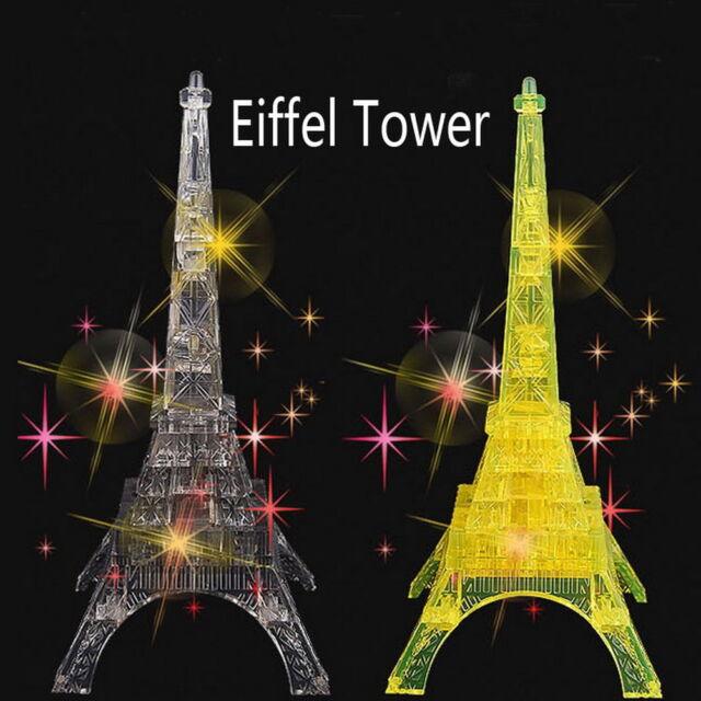 3D Crystal Puzzle Jigsaw 24x Eiffel Tower Grey IQ Smart Toy #QW ぱ