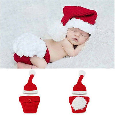 Newborn Baby Girl Boys Knit Hat Christmas Pants Santa Outfits Costume Photo Prop
