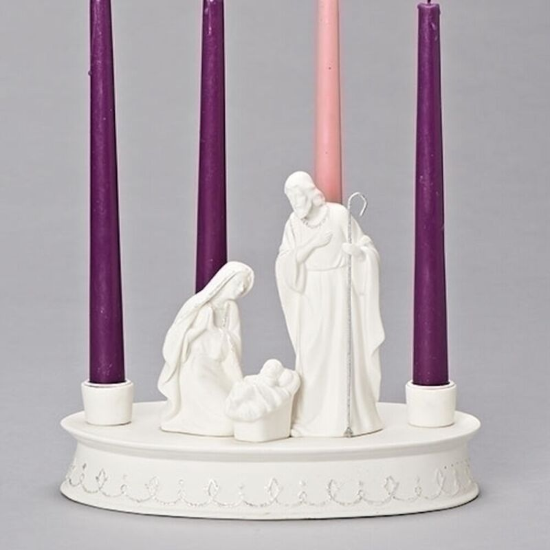 7.7 Inch Tall Holy Family White Advent Holder – Candles not Included