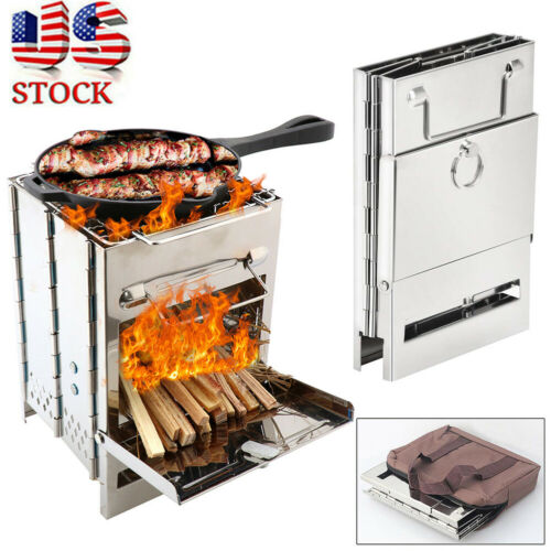 Folding Stainless Steel Wood Burning Stove Outdoor Camping Picnic BBQ Portable