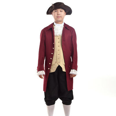 Colonial Revolution Suits Costume Outfits Cosplay Uniform Vintage Men Coat Vest - Colonial Outfits