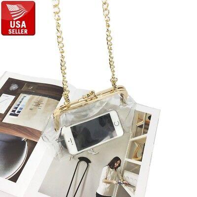 Transparent PVC Purse Gold Color Clasp Shoulder Bag Clear Vinyl with Chain (Gold Chain Shoulder Bag)