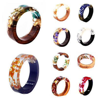 Creative Wooden Resin Ring Flowers Plants Inside Novelty Handmade Jewelry - Resin Flower Rings