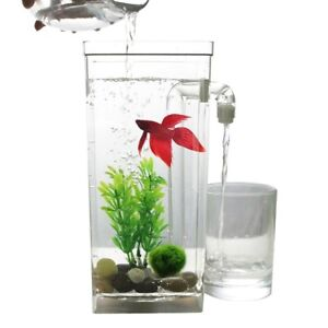 Self Cleaning Plastic Fish Tank Desktop Aquarium Betta Fishbowl Office Home Deco