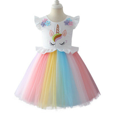 Kid Girl Rainbow Unicorn Costume Birthday Party Outfit Dress up Princess Clothes