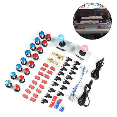 16x LED Arcade Spiel Button Taster Knöpfe + 2x Joystick + 2x USB Encoder DIY Set