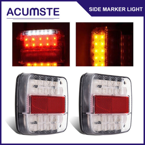 2x 20/26 LED Stop Tail Reverse Light Indicator License Plate Lamp Truck Trailer