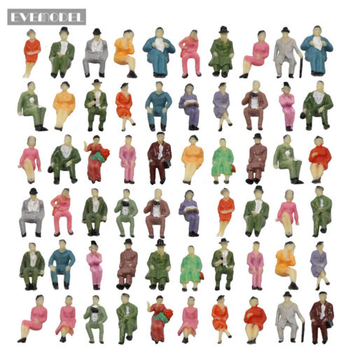 60pcs All Seated 1:87 Painted Figures Passenger HO Scale Sitting People P87S