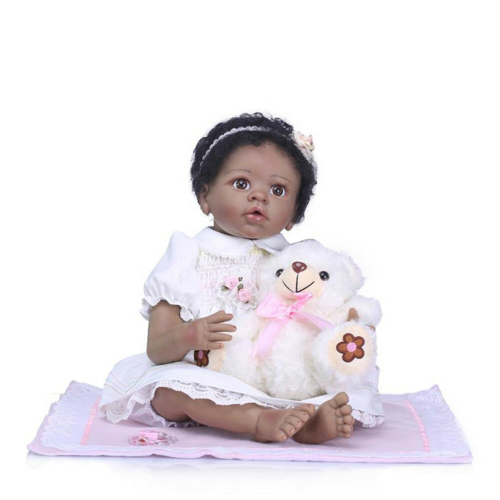 African American Girl Black Reborn Toddler Dolls 22inch 55cm Silicone Alive Bebe