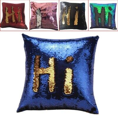 Two Tone Glitter Sequin Throw Pillow Case Cushion Color Chan