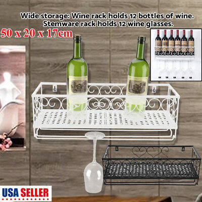 Wine Rack Wall Mount Iron Glass Floating Bar Shelf Bottle Holder Storage M Size