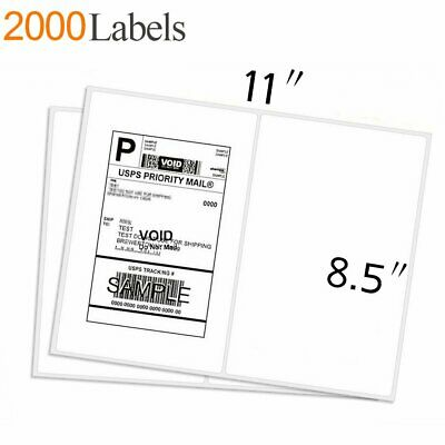 2000 Half Sheet Address Shipping Labels 8.5x5.5 Self Adhesive 2 Per Sheet Usps