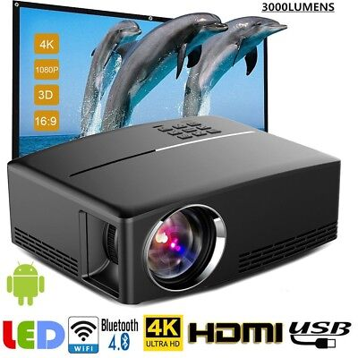 4K HD 1080P LCD LED Android Wifi Smart 3D Home Theater Projector Portable HDMI