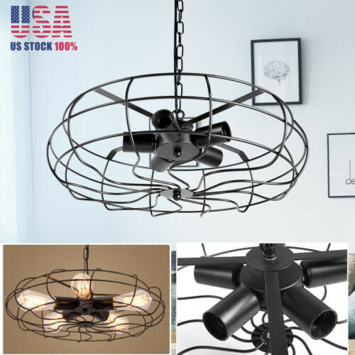 fan cage pendant e27 lamp industrial semi