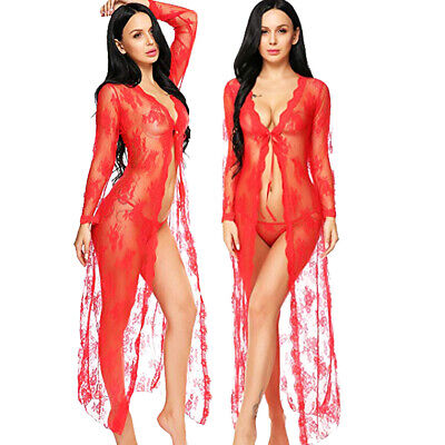 Sexy-Lingerie Womens Long Robe Gown Open Sheer Lace See Through Dress Best