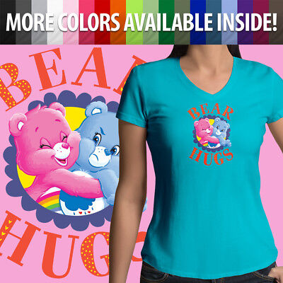 Care Bears Cheer Grumpy Bear Hugs Friends Girls Juniors V-Neck Tee T-Shirt Top