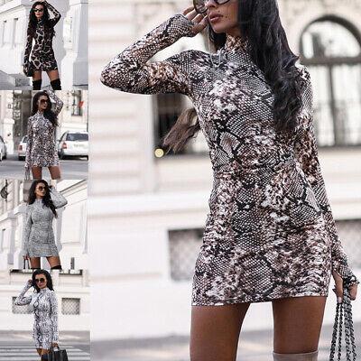 Women Leopard Print Sexy Long Sleeve Gloves Casual Bodycon Mini Dress Party Club Animal Print Mini Dress