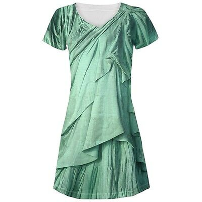 Statue of Liberty Lady Costume All Over Juniors V-Neck Dress (Statue Of Liberty Dress)