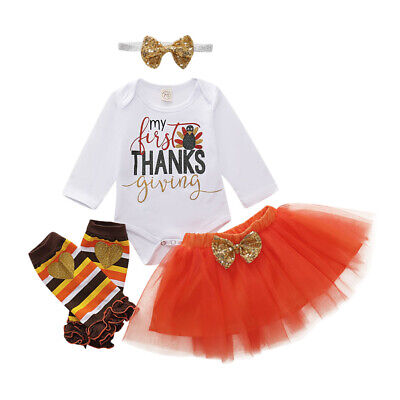 US My First Thanksgiving Baby Girl Romper Skirt Leg Warmers 5Pcs Outfits