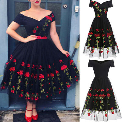 Elegant Women New Summer Dress Vintage Rose Rockabilly Evening Party Swing Dress