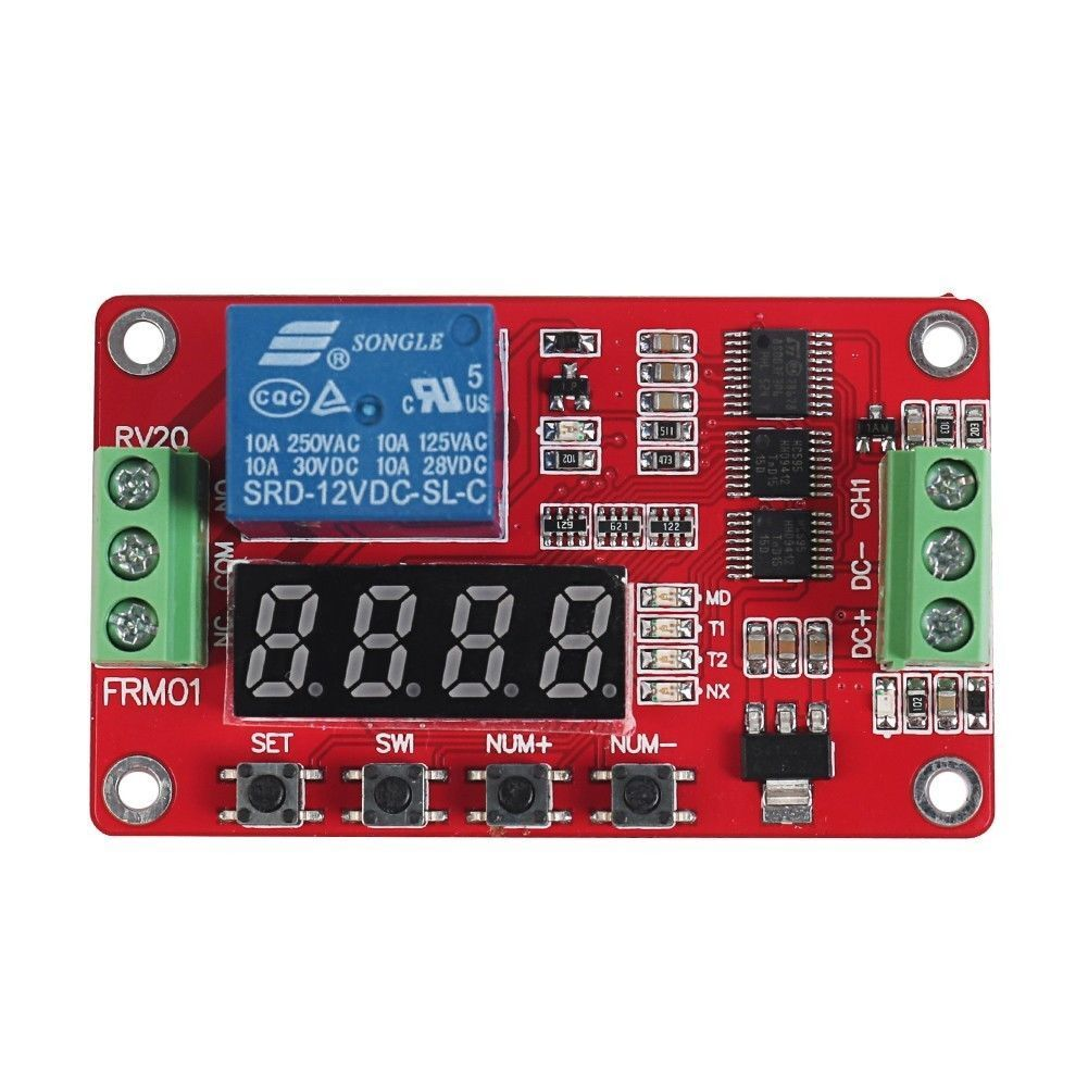 12v Dc Multifunction Self Lock Relay Plc Cycle Timer Module Delay Switch Buzzing Stock Photo