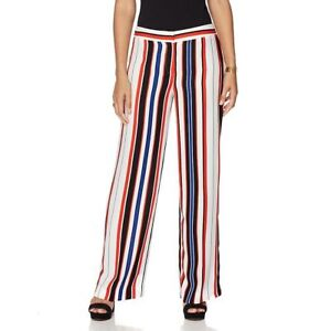 $109.00 Vince Camuto White Mid Rise Striped Wide Leg Pants,  size 18 W