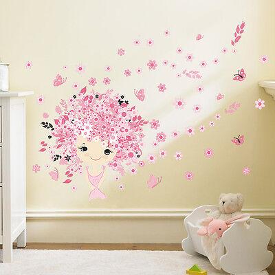 Wandtattoo Mädchen Schmetterling Kinderzimmer Babyzimmer rosa pink süß Blume  ()