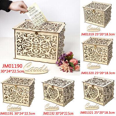 Wood Gift Case Money Box DIY Birthday Party Card Holder Container Wedding Favors](Wedding Money Box)