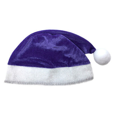 Adult Purple Plush Santa Hat ~ FUN XMAS, CHRISTMAS, HOLIDAY, COSTUME, PARTY HAT - Purple Santa Costume