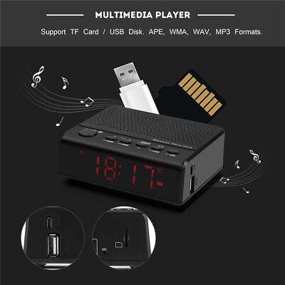 Leadstar Inalámbrico Bluetooth Despertador Reloj HiFi Altavoz Radio FM USB Mic