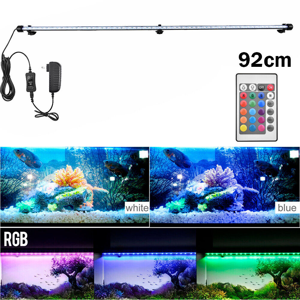 Aquarium Fish Tank RGB LED Light Submersible Waterproof Bar Strip Lamp Lighting 92cm(For Over 100cm Fish Tank)