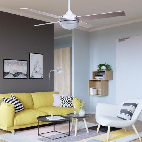 Deckenventilator mit Licht Fernbedienung Küchen Wohnzimmer Lüfter Lampe Alu Holz