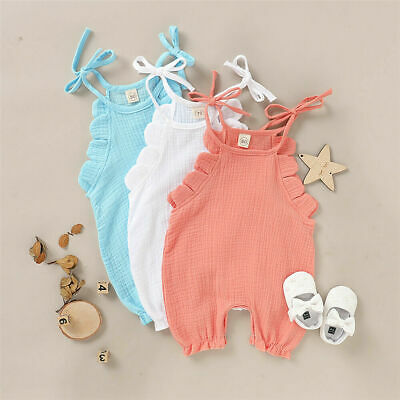 US Newborn Toddler Baby Girl Clothes Romper Jumpsuit Summer Solid Outfit 0-18M