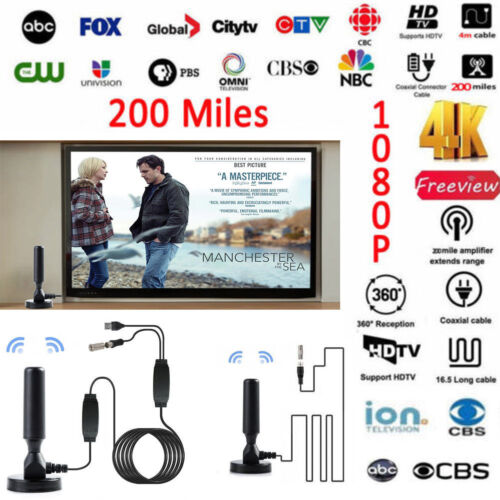 200 Mile Range Antenna TV Digital HD Skywire 4K Antena Digit