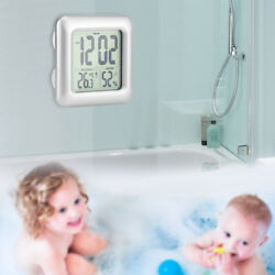 Waterproof Kitchen Bathroom Bath Shower Clock Temperature Suction Cup Wall Decor