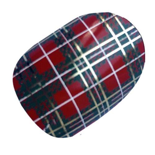 SCOTTISH+Red+Tartan+Scotland+Flag+Nail+Wraps+Vinyl+Salon+Quality+Stickers+Chix