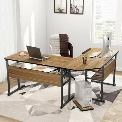Tribesigns Modern L-shaped Desk Bookshelf Table With Tiltable Tabletop For Home