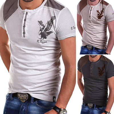 TAZZIO Henley T-Shirt V-Neck Poloshirt Vintage Clubwear Grau/Beige/Braun NEU ()